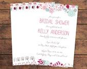 Flower Bridal Shower Invitation Floral Illustration Doodle Drawing Invitation Printed - DIY Printables