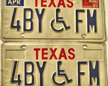 Vintage Texas License Plate Set Handicap 2 Texas Plates 1980s Crafts Altered Art