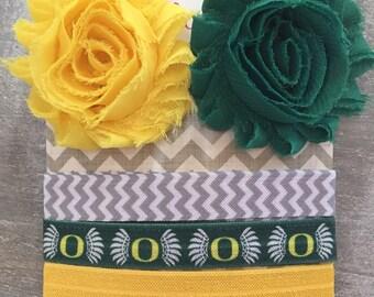 Oregon Ducks Headband Hair Clip Set - Interchangeable Headband - No Crease No Pull - Shabby Flower Clips - College Team - Green Yellow