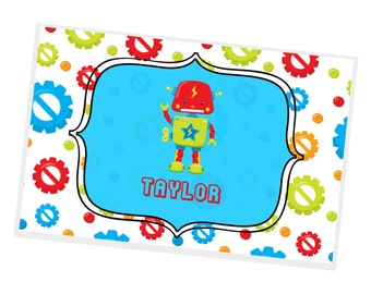 Toy Robot Personalized Placemat - Toy Robot Gears with name, Customized Laminated Placemat