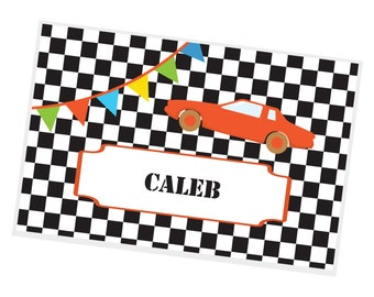 Race Car Personalized Placemat - Race Car Black White Checkered with Name, Customized Laminated Placemat
