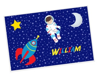 Astronaut Personalized Placemat - Astronaut Night Sky Stars with Name, Customized Laminated Placemat