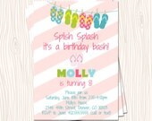 Flip Flop Pink Blush Blue Orange Yellow Green Stripe Beach Pool Swimming Birthday Party Invitation Card  - Any Color