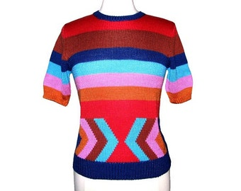 Vintage 70s 80s EVAN PICONE Colorful Striped Chevron Knit Sweater- Size M