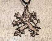 Lion Necklace, Bohemian Double Tailed Lion Necklace, Renaissance Jewelry, Medieval Necklace, Lion Pendant