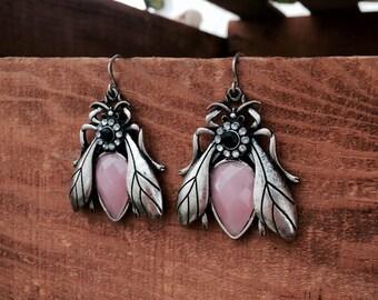 Beetle Bug Bee Silver Pink Gemstone Dangle Earrings