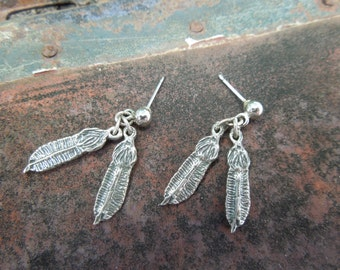 Sterling Silver Earrings Dangle Bird Wings Feathers