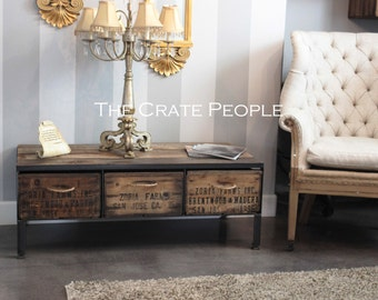 Zoria Crate Coffee Table with Rope Handles - Reclaimed Wood Top & Vintage Crates