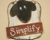 Sheep Sign, Primitive Sheep Wall Decor, Wood Sheep Simplify Hanger