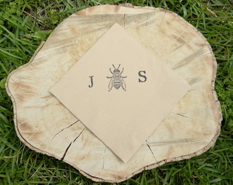Personalized Honey Bee Large Initials Wedding Light Burlap Paper Cocktail Napkins  - Set of 50