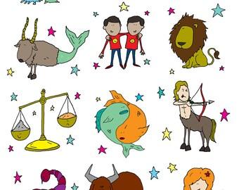Signs of the ZODIAC - poster print. Pisces, Libra, Gemini, Taurus, Virgo