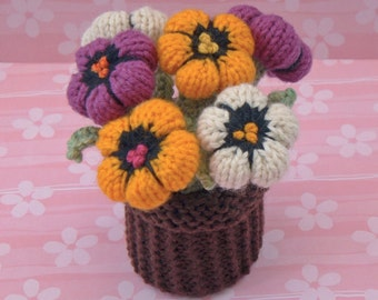 Pansy Pot Knitting Pattern. Instant Download.