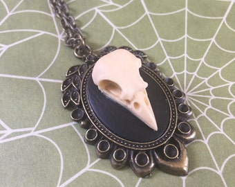 Dia De Los Muertos 3D Raven Skull Cameo Necklace Ivory on Black