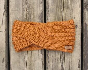 women's twisted style knit headband in mustard yellow