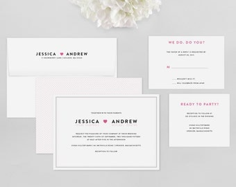 Simple Wedding Invitation - Amory Wedding Invitation Suite - Heart Invitation, Modern - Deposit to Get Started