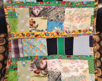 Winter Clearance 40x26 ADVANTAGE TIMBER BABY Postmodern Quilt - Patchwork Freeform - Ready 2 Ship. Green, Yellow, Leaves, Camouflage