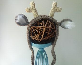 Newborn Crochet Deer Bonnet Photo Prop Baby Girl Baby Boy