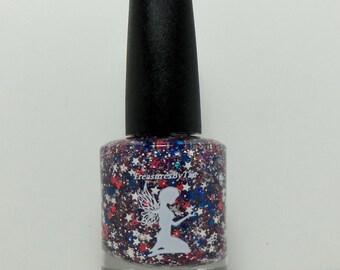 AMERICAN PRIDE (USA Red, White, and Blue) Nail Polish, U.S.A., Pride, America, Flag, Nails, Lacquer, Stars, Glitter, Polish, Glitter Nails