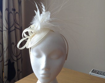 Ivory Cream Sinamay and Feather Disc Fascinator on a hairband, races, weddings, special occasions Melbourne Cup, Ascot, Regatta