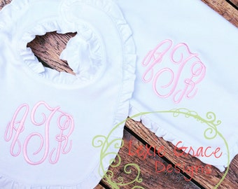 White Ruffled Bib and Burp Cloth Monogrammed Set