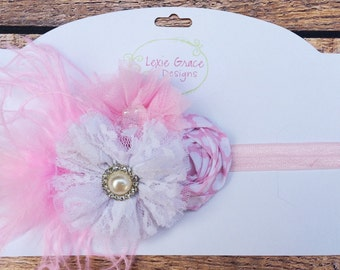 Baby couture pink and white headband with pearl rhinestone accent