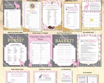 Elephant Baby Shower Games, Girl Elephant Baby Shower Games, Girl Pink and Grey, Printable Baby Shower Game, Little Peanut Theme