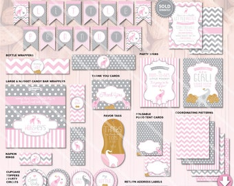 Elephant Baby Shower Decorations | Little Peanut Printable Party Package | Pink Grey Chevron | Invitation & Games Available INSTANT DOWNLOAD