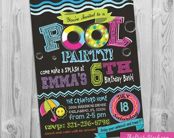 Pool Party Invitation Girl, Pool Birthday Party Invitations, Pool Party Invites for a Girl, Printable