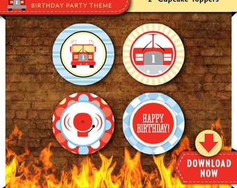 Fire Truck Cupcake Toppers   Printable Circles   Party Decorations   Cake Decor   Instant Download