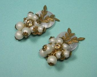 Mother-Of-Pearl Earrings, Faux Pearls, Rhinestones, Vintage Clip Ons