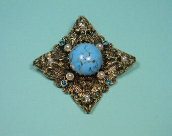 Gold Tone Ornate Blue Art Glass Brooch or Pin, Faux Pearls, Timeless Classic