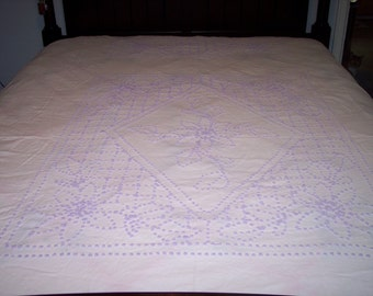 Vintage Handmade Chenille Bedspread Blanket Cover Cutter