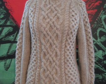 Knitting Patterns Pictures : Handmade Knit Celtic Knot Oatmeal Fishermans Sweater