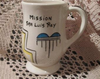 Vintage Mission San Luis Rey Hand Decorated Coffee Mug