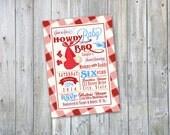 Howdy Baby! Western Bar B Que Shower Invite - Printable