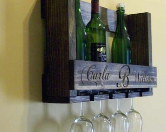 Wine Bottle Rack Wine Glass Holder Custom Engraving Wedding Gift
