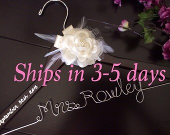 3 DAYS SALE--Rush order,Wedding hanger, custom wire hanger, bridal hanger, bride gift, bridesmaids gift, custom made hanger