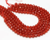 """GU-5825-3 - Red Carnelian Faceted Round Beads - 64 Facetes - 10mm - Gemstone Beads - 16"""" Full Strand"""