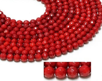 "GU-26210-4 - Red Coral Faceted Round Beads - 8mm - Gemstone Beads - 16"" Full Strand"