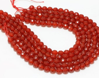 "GU-5825-3 - Red Carnelian Faceted Round Beads - 64 Facetes - 10mm - Gemstone Beads - 16"" Full Strand"