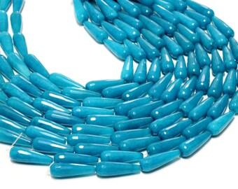 GU-0571-2 - Aqua Jade Faceted Round Drops - 10X30mm - Gemstone Beads