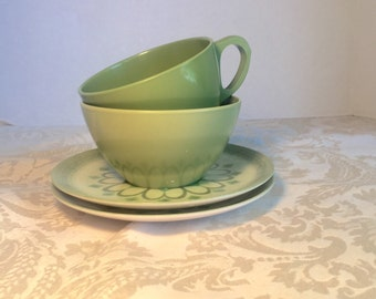 Vintage Green Melamine Mismatched Teacups and Saucers by Royalon Melmac and Lenotex