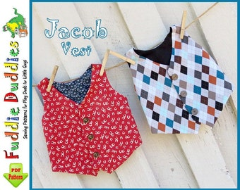 Boy's Vest Pattern, Toddler Sewing Pattern, Infant  Pattern, Boy's Sewing Pattern, INSTANT DOWNLOAD, pdf, sizes 6mo-5T