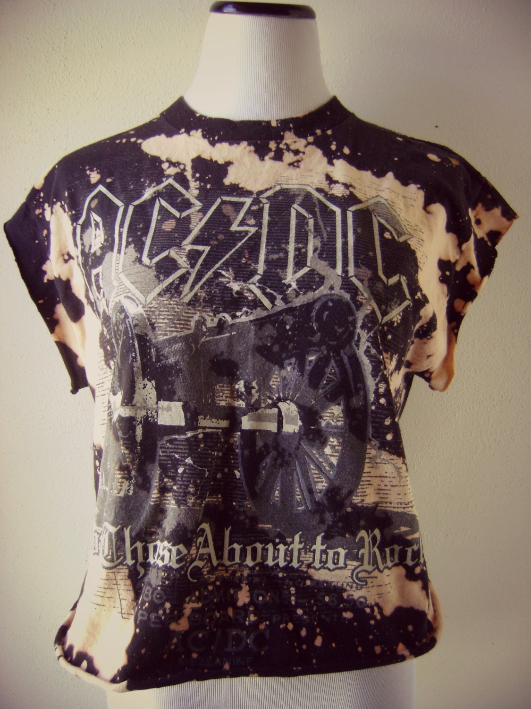 distressed acdc rock band t shirt vintage diy bleached cut off. Black Bedroom Furniture Sets. Home Design Ideas