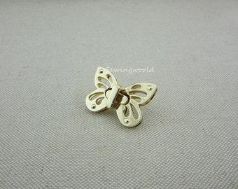 1 set Bright Gold Bag Lock Purse Turn Lock Butterfly Fastener