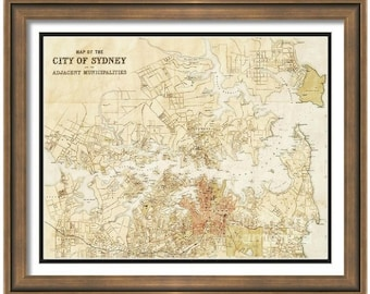 MAP of SYDNEY Australia in a Vintage Grunge Weathered Antique style