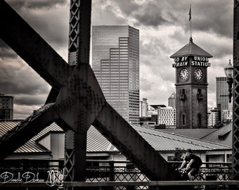 Portland Oregon Print | Skyline | Cityscape | Black and White or Color | Oregon Photography | Broadway Bridge | Union Station
