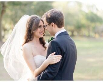 "Fingertip veil with blusher raw edge veil wedding veil 2 tier veil blusher veil 2 layer blusher veil simple veil ""Erin"""