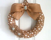 Polka Dot Burlap Wreath - Everyday Wreath - White Polka Dot Wreath - Burlap Wreath with Jute Flowers - Choose Your Size - Choose Your Burlap