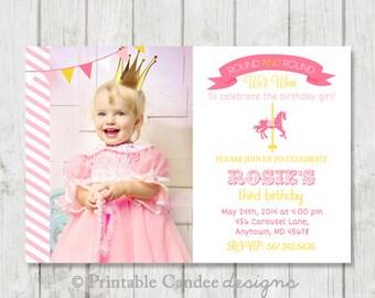 Carousel Birthday Invitation - Pink and Yellow - DIY Custom Printable